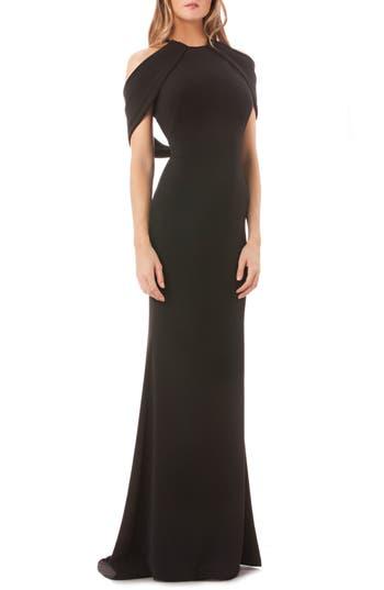 Carmen Marc Valvo Halter Neck Gown, Black