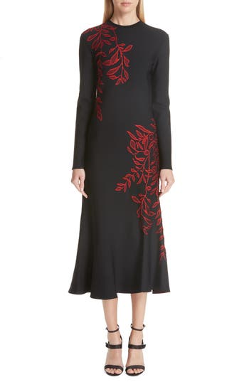 Oscar De La Renta Floral Intarsia Dress, Black