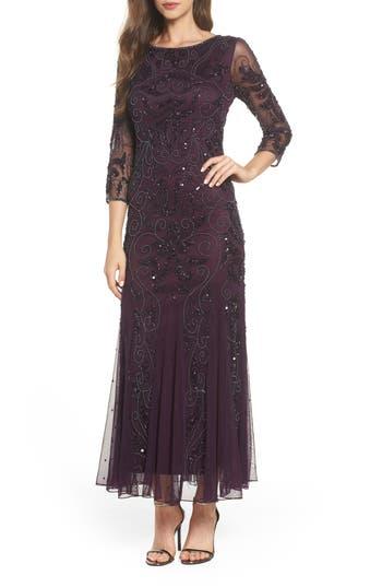 1920s Wedding Dresses- Art Deco Wedding Dress, Gatsby Wedding Dress Pisarro Nights Embellished Mesh Gown Size 12P - Purple $218.00 AT vintagedancer.com