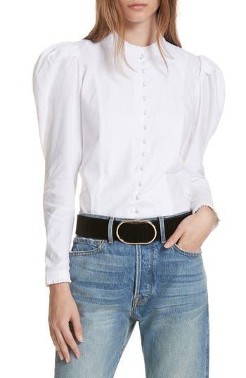 Edwardian Blouses | White & Black Lace Blouses & Sweaters Womens Frame Puff Shoulder Blouse $235.00 AT vintagedancer.com