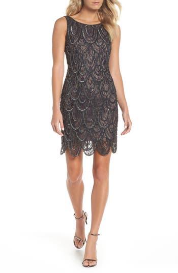 Pisarro Nights Beaded Lace Sheath Dress, Brown