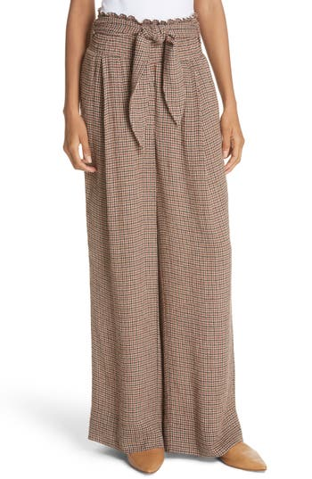 NANUSHKA Private Houndstooth Tie Waist Pants in Check