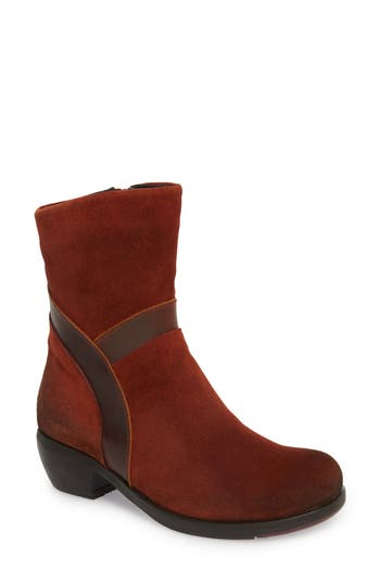 Fly London Mobu Mixed Media Bootie - Red