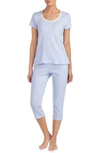 Lauren Ralph Lauren Lace Trim Capri Pajamas, Blue