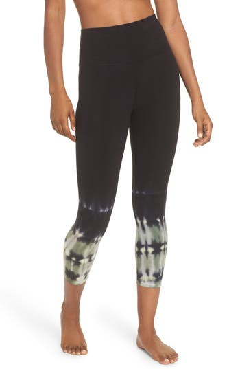 Electric & Rose Sunrise Tie Dye Capri Leggings, Black