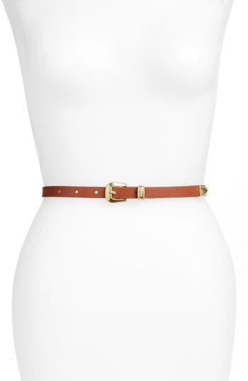 Treasure & Bond Western Leather Skinny Belt, Cognac