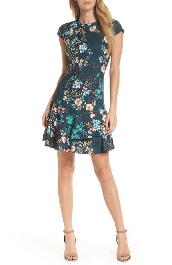 Eliza J Floral Print Cap Sleeve Fit & Flare Dress, Green