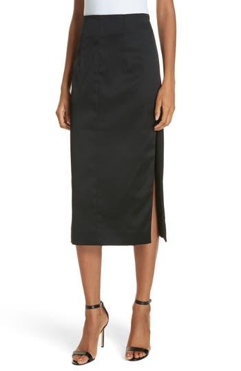 Felicity Stretch Satin Side Slit Pencil Skirt, Black