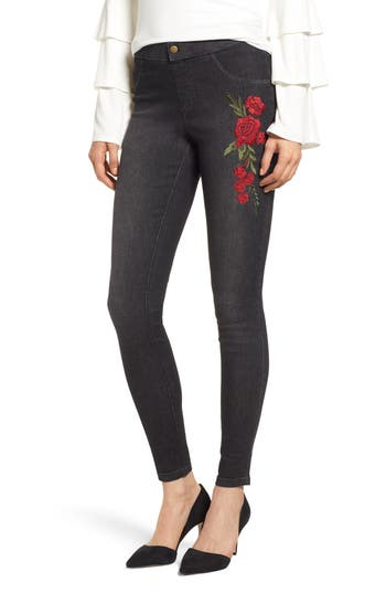 Zeza B By Hue Rose Embroidered Denim Leggings, Black