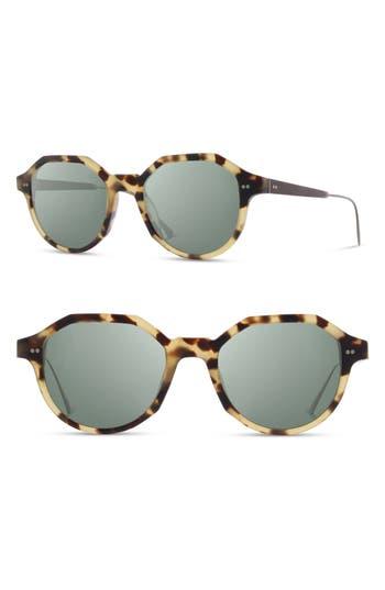 Shwood Powell 50Mm Polarized Geometric Sunglasses - Matte Havana/blk Chrome/g15
