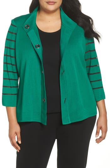 Plus Size Ming Wang Stripe Sleeve Jacket, Green