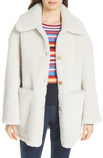Tory Burch Oliver Genuine Shearling Coat, Ivory