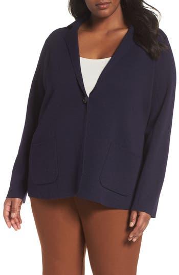 Plus Size Eileen Fisher Merino Wool Cardigan, Blue