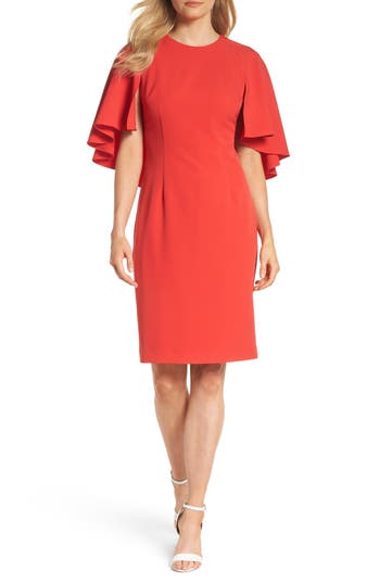 Eliza J Cape Sleeve Dress, Red