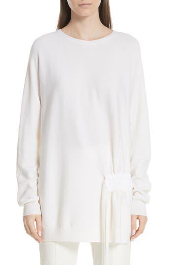 Tibi Side Shirred Merino Wool Tunic Sweater, Ivory