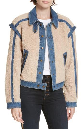 Veronica Beard Potter Fleece & Denim Jacket, Beige