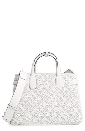 Burberry Perforated Medium Banner Leather Tote - White