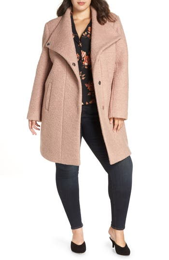 Plus Size Kenneth Cole New York Pressed Boucle Coat, Pink