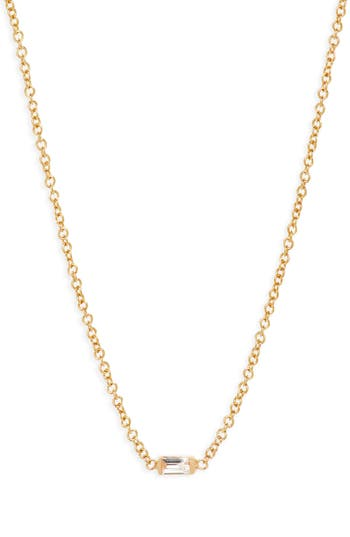 Zoe Chicco Diamond Baguette Pendant Necklace