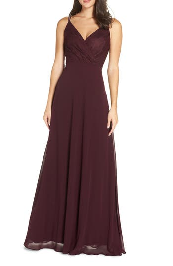 Haley Lace & Chiffon Gown, Aubergine