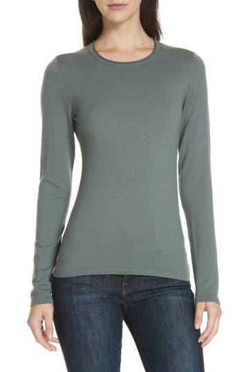 Theory Slim Fit Merino Wool Crewneck Top, Size Petite - Grey