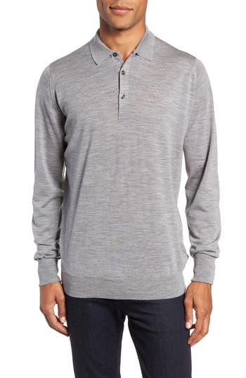 John Smedley Slim Fit Long Sleeve Merino Polo, Grey