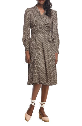 Vintage Polka Dot Dresses – 50s Spotty and Ditsy Prints Womens Gal Meets Glam Collection Darcy Shawl Collar Faux Wrap Dress $178.00 AT vintagedancer.com