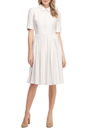 1940s & 1950s Style Shirt Dresses, Shirtwaist Dresses Womens Gal Meets Glam Collection Beatrice Tussah Textured Fit  Flare Dress $198.00 AT vintagedancer.com