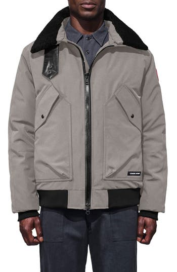 Canada Goose Bromley Down Bomber Jacket With Genuine Shearling Collar, Grey