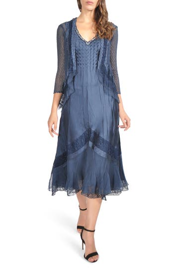 1920s Style Dresses, Flapper Dresses Komarov V-Neck Midi Dress With Jacket Size X-Large P - Blue $438.00 AT vintagedancer.com