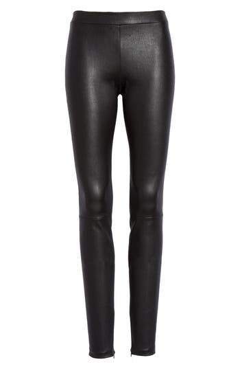 Vince Leather Zip Leggings, Black