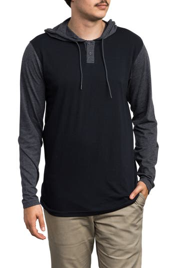 Rvca Pick Up Hooded Henley Sweatshirt, Blue