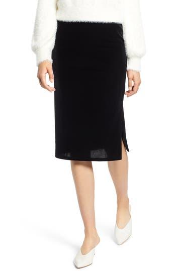 Halogen Velvet Pencil Skirt, Black