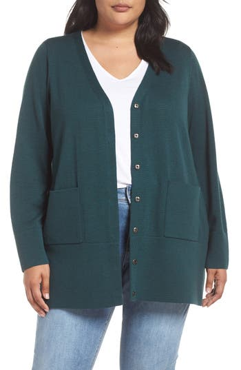 Plus Size Eileen Fisher Snap Merino Wool Cardigan, Green