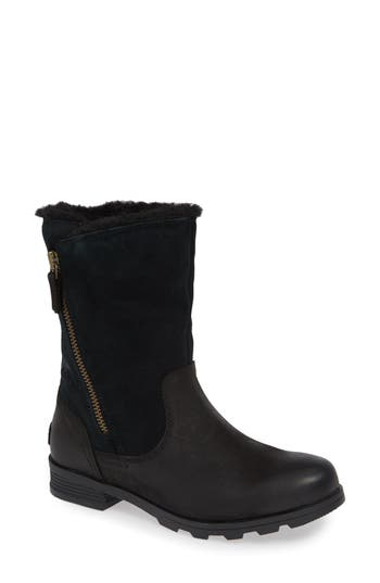 Sorel Emelie Waterproof Faux Fur Lined Boot- Black