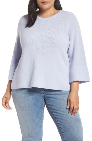 Plus Size Eileen Fisher Ribbed Merino Wool Sweater, Blue