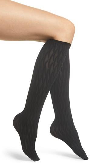 Origami Knee High Stockings, Black