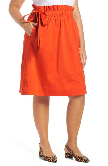 Halogen Side Tie A-Line Skirt, Orange