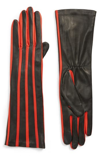 Agnelle Stripe Lambskin Leather Gloves - Black