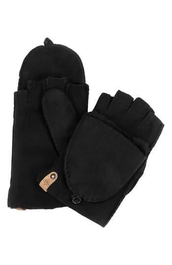 Mackage Orea Pop Top Sheepskin Leather Mittens, Black