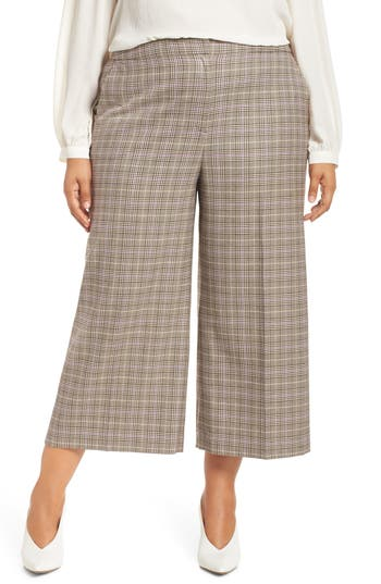 Did Women Wear Pants in the 1920s? Yes! sort of… Plaid Wide Leg Crop Pants Petite Womens Halogen $89.00 AT vintagedancer.com