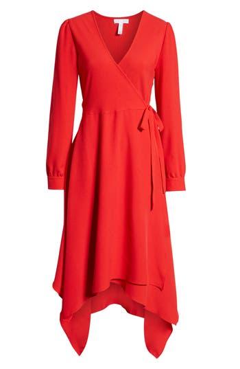 1930s Dresses | 30s Art Deco Dress Womens Leith Sharkbite Hem Wrap Dress Size XX-Large - Red $79.00 AT vintagedancer.com