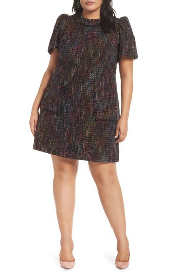 60s 70s Plus Size Dresses, Clothing, Costumes Womens 1901 Tweed Shift Dress $139.00 AT vintagedancer.com
