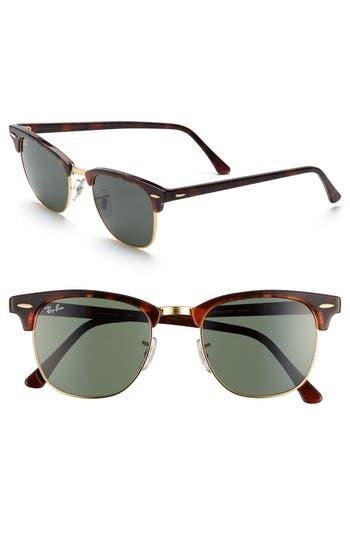 Ray-Ban Classic Clubmaster 51Mm Sunglasses - Dark Tortoise/ Green
