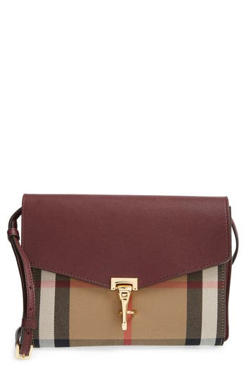 Burberry 'Small Macken' Check Crossbody Bag - Red
