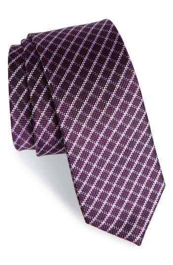 Men's The Tie Bar Check Silk Tie, Size Regular - Purple