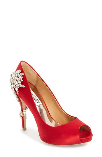 Women's Badgley Mischka 'Royal' Crystal Embellished Peeptoe Pump, Size 10 M - Red