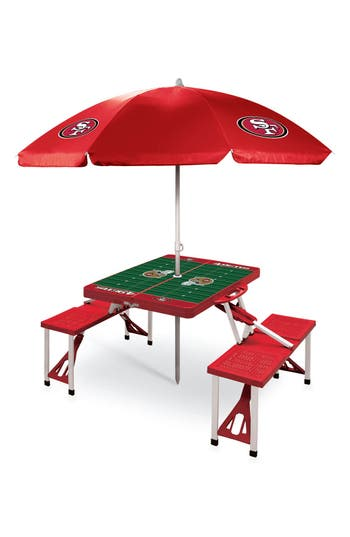 Picnic Time Team Football Field Design Portable Picnic Table With Umbrella, Size One Size - Red