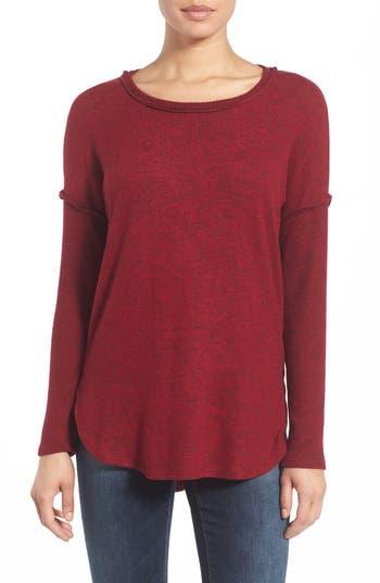 Petite Women's Bobeau Rib Long Sleeve Fuzzy Sweatshirt, Size XX-Small P - Red