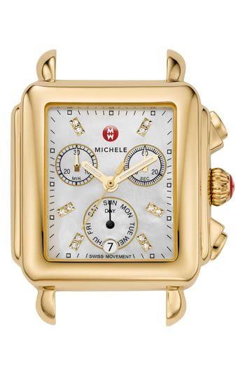 Women's Michele Deco Diamond Dial Gold Plated Watch Case, 33Mm X 35Mm